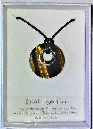 Gemstone Donut Pendant - Gold Tiger Eye